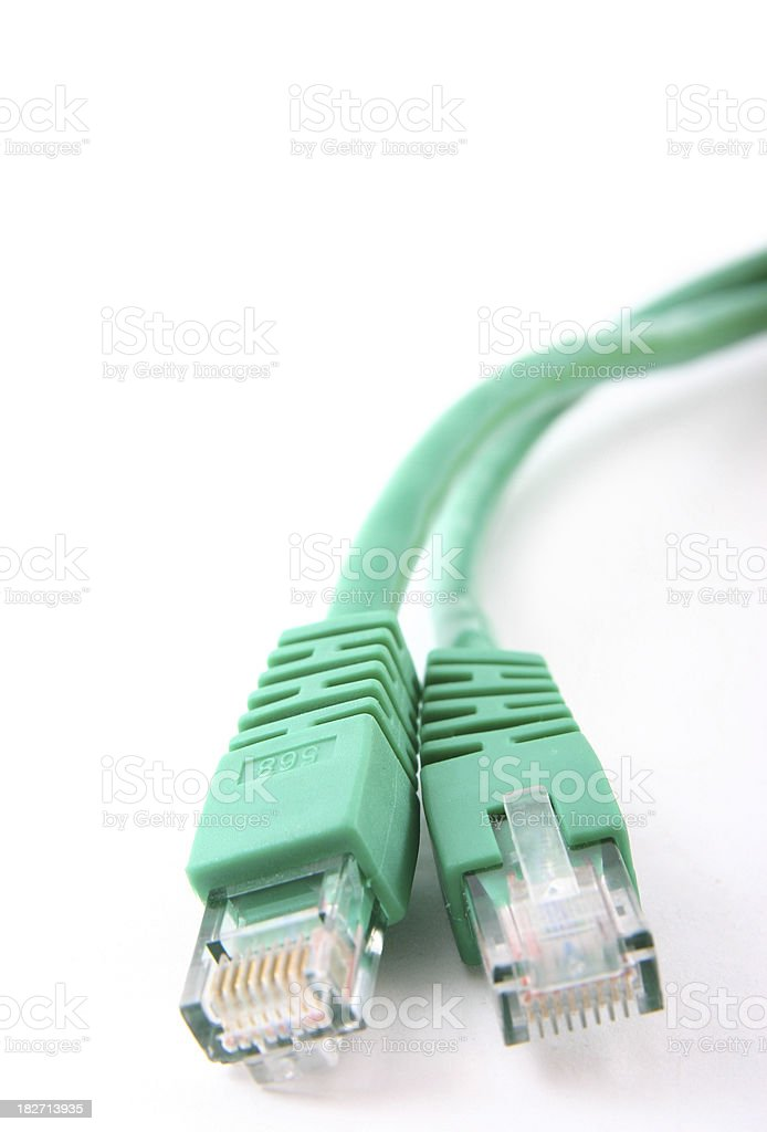 Two green network cables stock photo