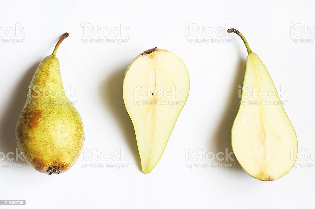 two green pears on white background stock photo