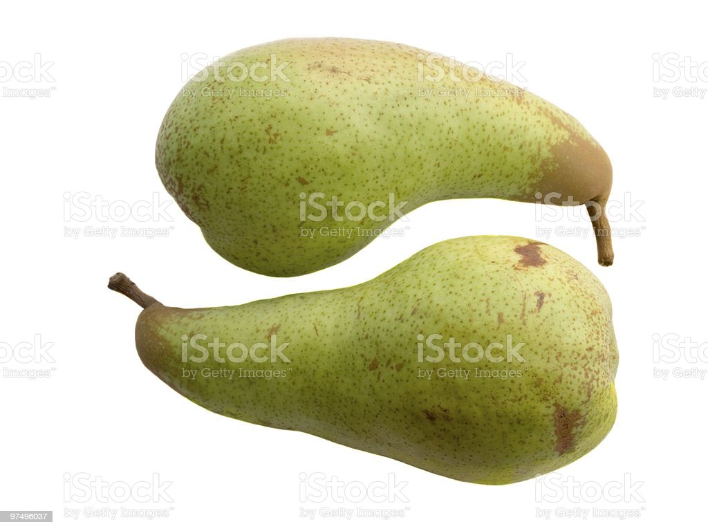 Two green pears royalty-free stock photo