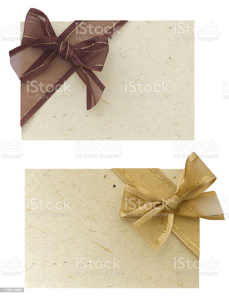 two greeting cards with bows royalty-free stock photo
