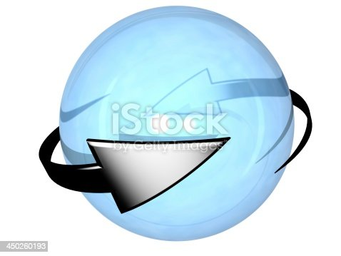 istock Two grey cyclic arrows  turning around a sphere 450260193
