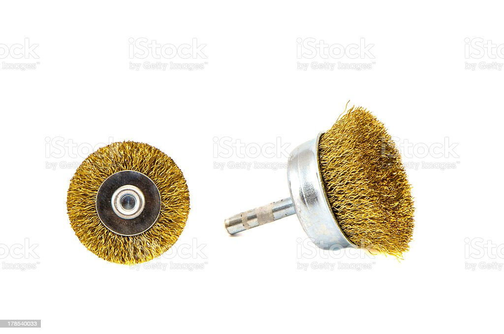 two Grinding discs and polishing brushes isolated on white royalty-free stock photo