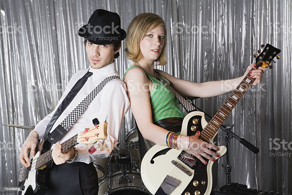 Dois guitarists foto de stock royalty-free