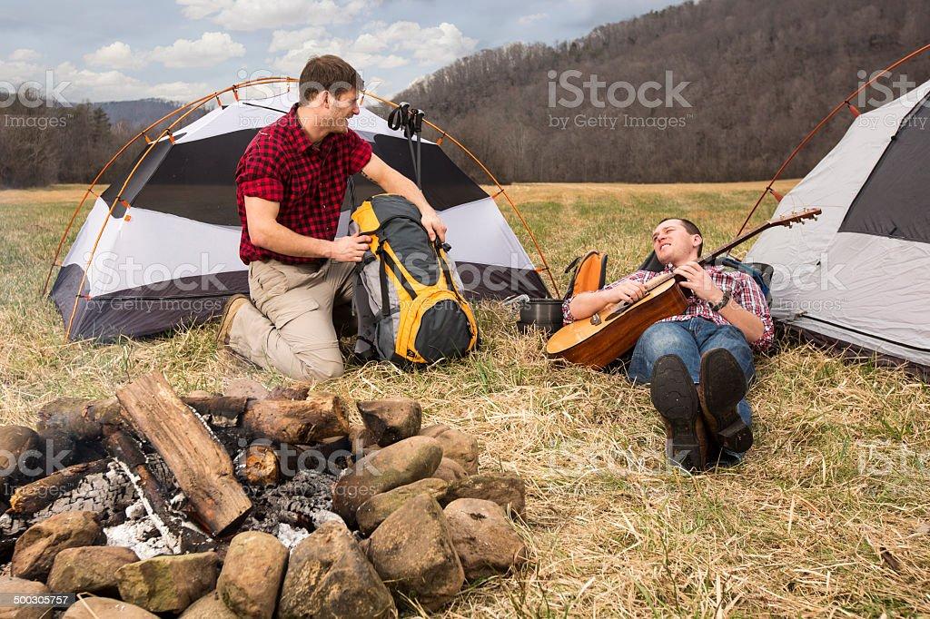Two Guys Enjoying Camping stock photo