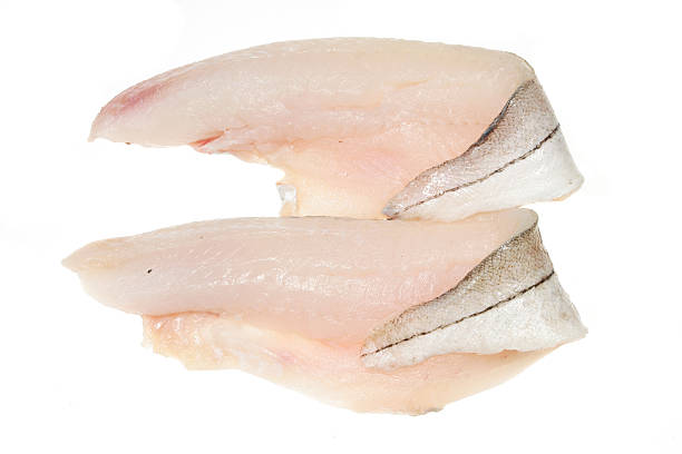 Two haddock fillets stock photo