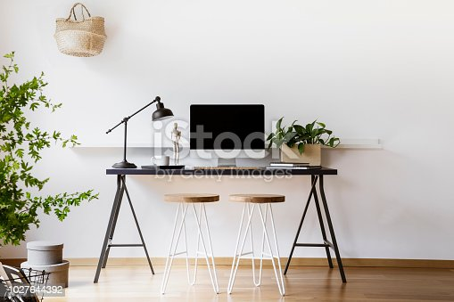 istock Two hairpin stools placed by black desk with metal lamp, fresh plant and mockup monitor in real photo of white living room interior with empty wall 1027644392