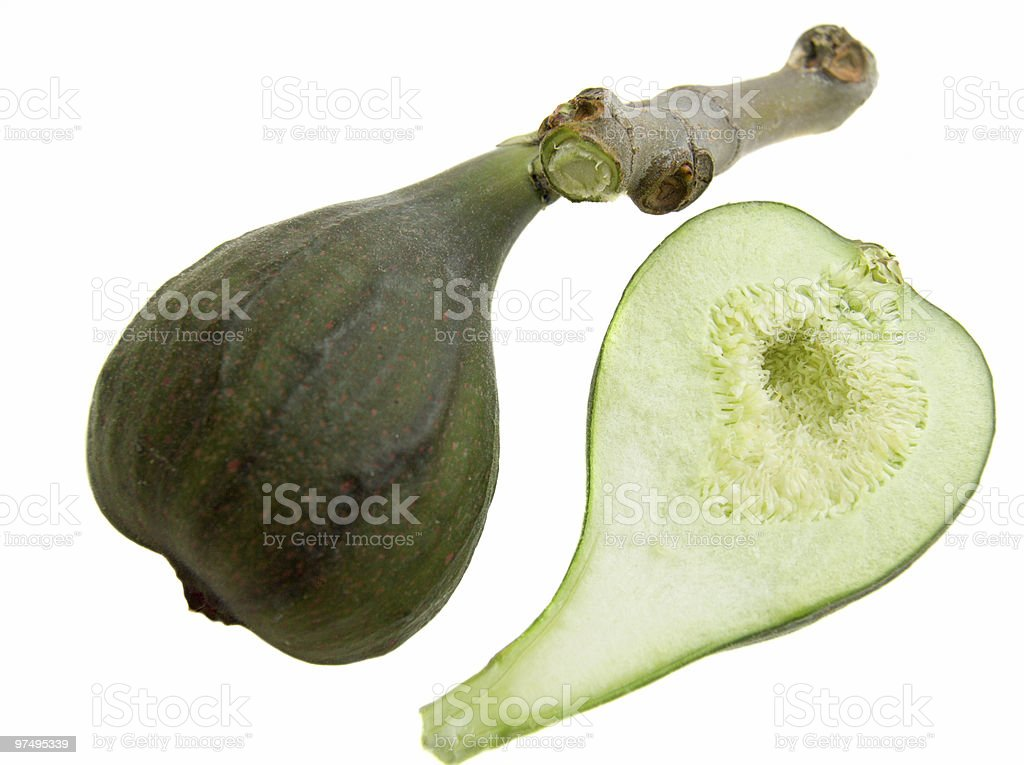 Two half of green fig royalty-free stock photo