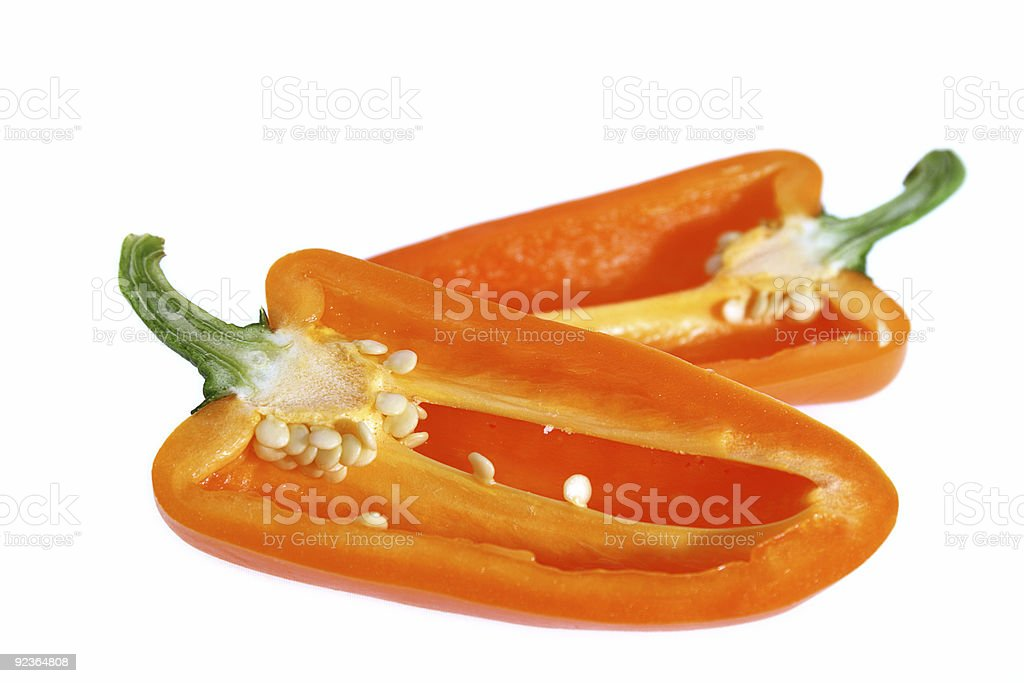 two half of sliced orange bell pointed pepper royalty-free stock photo
