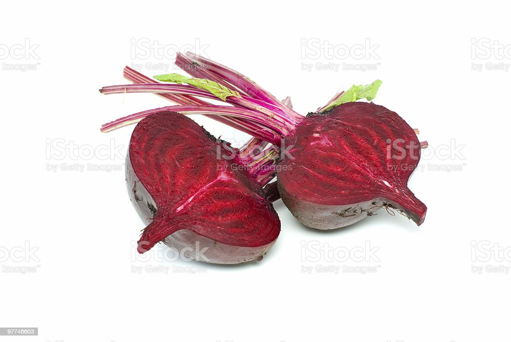 Two halves of red beet royalty-free stock photo