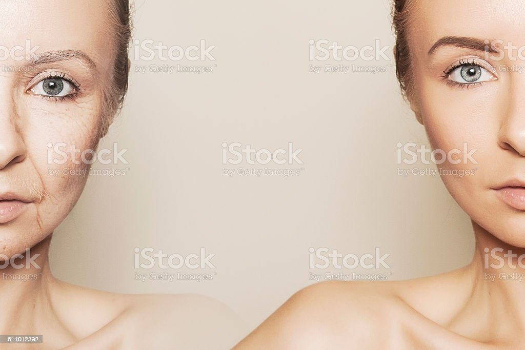 two halves of woman face stock photo