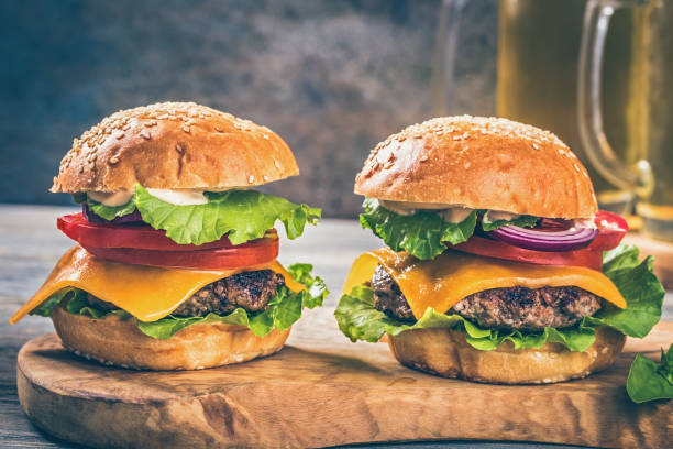 Cтоковое фото Two hamburgers on board