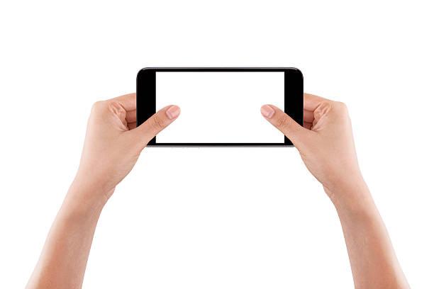 two hand holding mobile smart phone - tastatur bilder stock-fotos und bilder