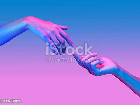 Two hand in a pop art collage style in neon bold colors. Modern psychedelic creative element with human palm for posters, banners, wallpaper. Copy space for text. Magazine style design. Zine culture.