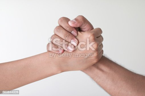 woman and man hand in isolated white background