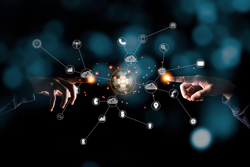 Two hand pointing to virtual artificial intelligence with cloud technology transformation and internet of thing .  Cloud technology management big data include business strategy , customer service.