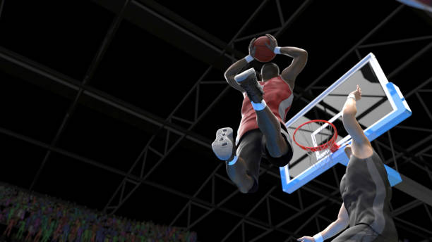 Two handed powerfull dunk hard to block or defend in basketball game 3d render Two handed powerfull dunk hard to block or defend in basketball game 3d render national basketball player stock pictures, royalty-free photos & images