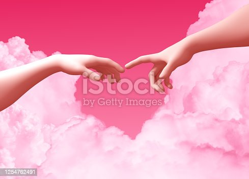 974882202 istock photo Two Hands And Clouds On Pink Background Create A Heart Shape 1254762491