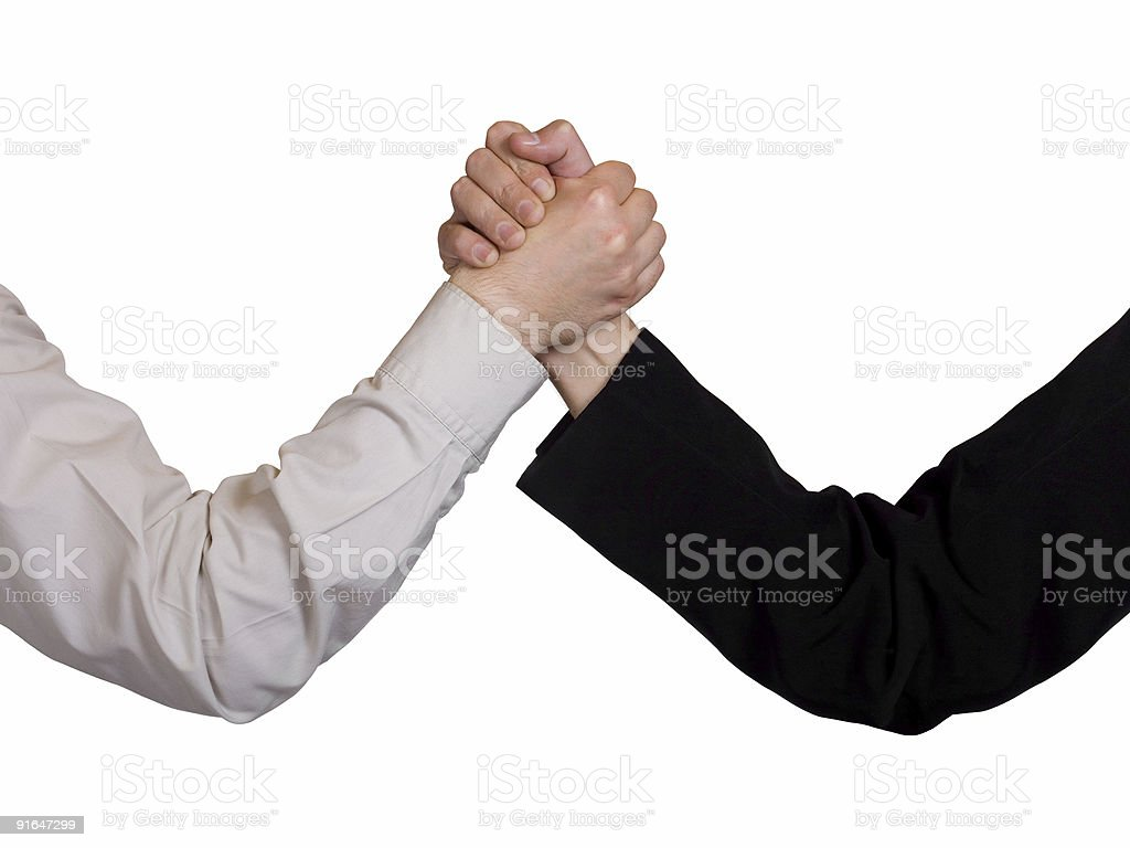 Two hands, arm wrestling royalty-free stock photo