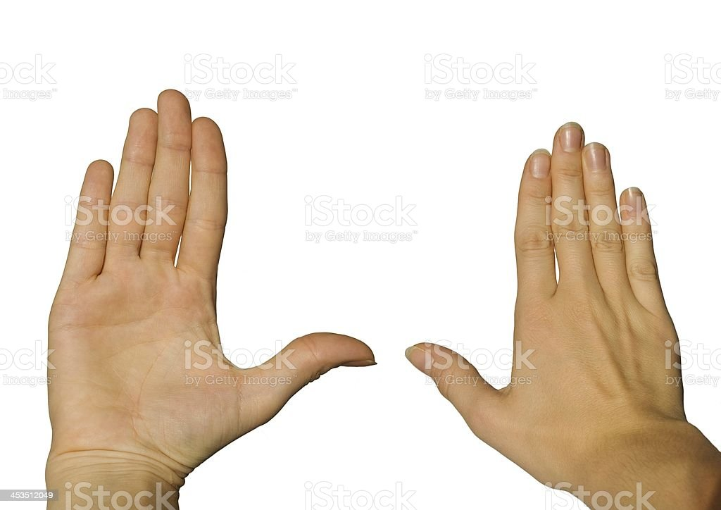 two hands, back and front stock photo