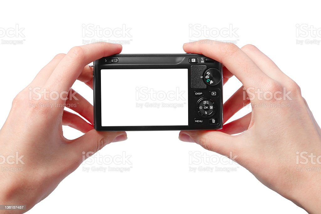 two hands black compact digital photo camera royalty-free stock photo