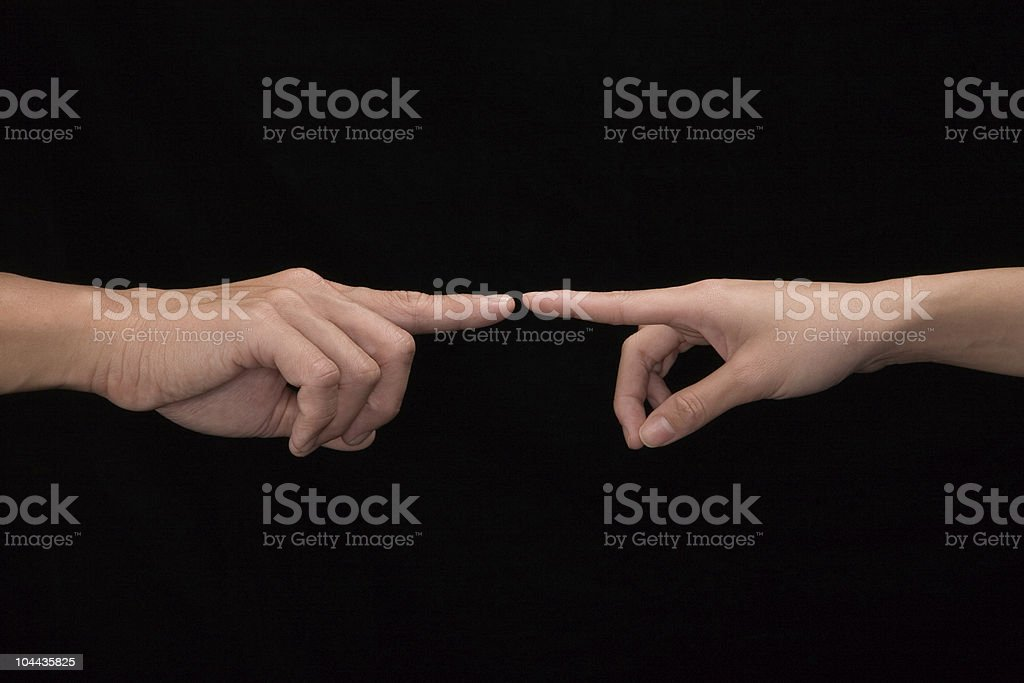 Two hands both touching at the index finger stock photo