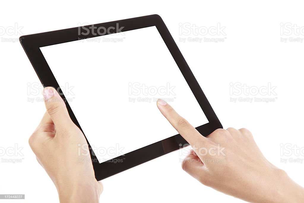 Two hands holding a black digital tablet royalty-free stock photo