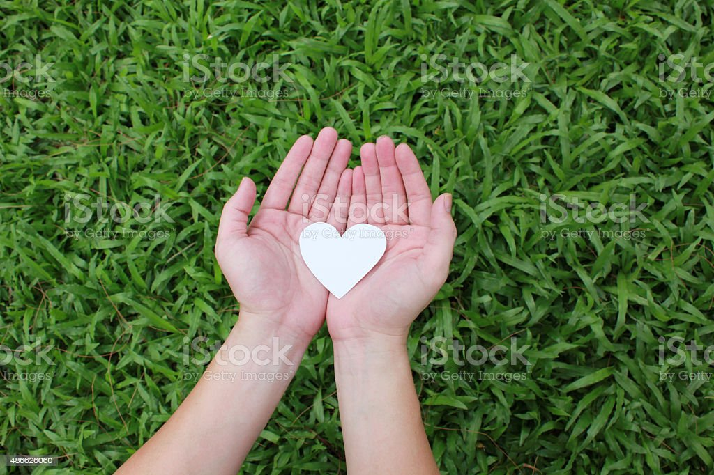 Two hands holding white heart stock photo