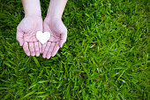 istock Two hands holding white heart with green grass background. 693993412