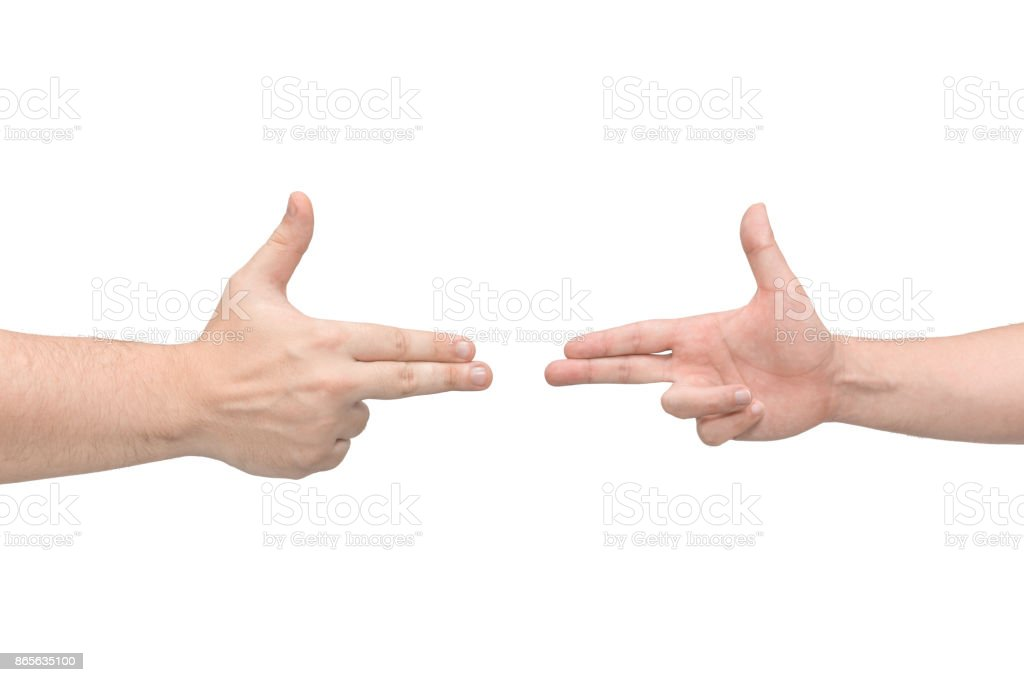 Two hands in the shape of a gun. Isolated white background. Front view stock photo