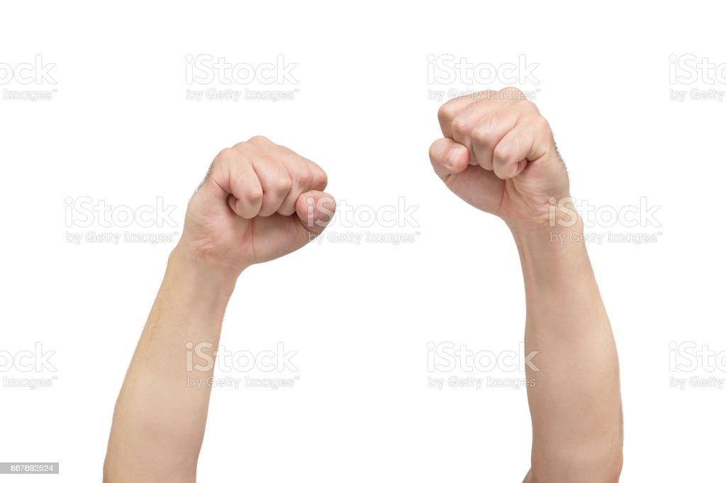 Two Hands Of Fists On White Background Symbol Of Protest Front View
