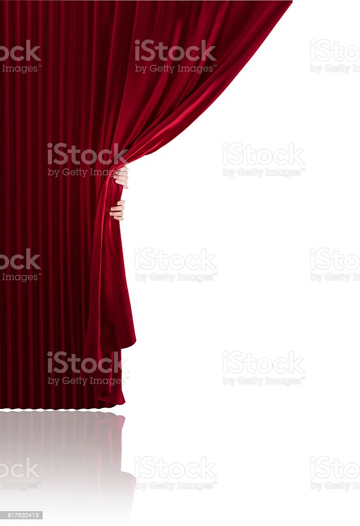 Two Hands opening a curtain stock photo