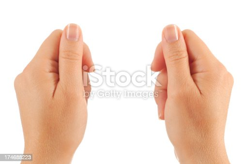 Two hands ready to hold your custom message. Isolated on white.Add our