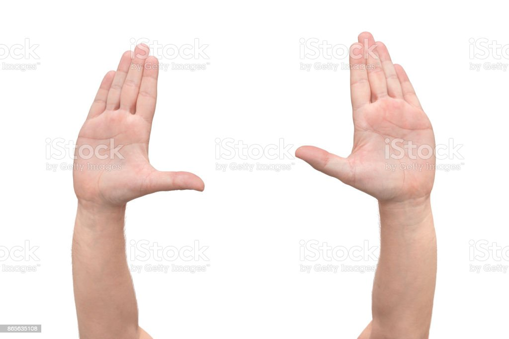 Two Hands Symbol That Means Stop On White Background Front View