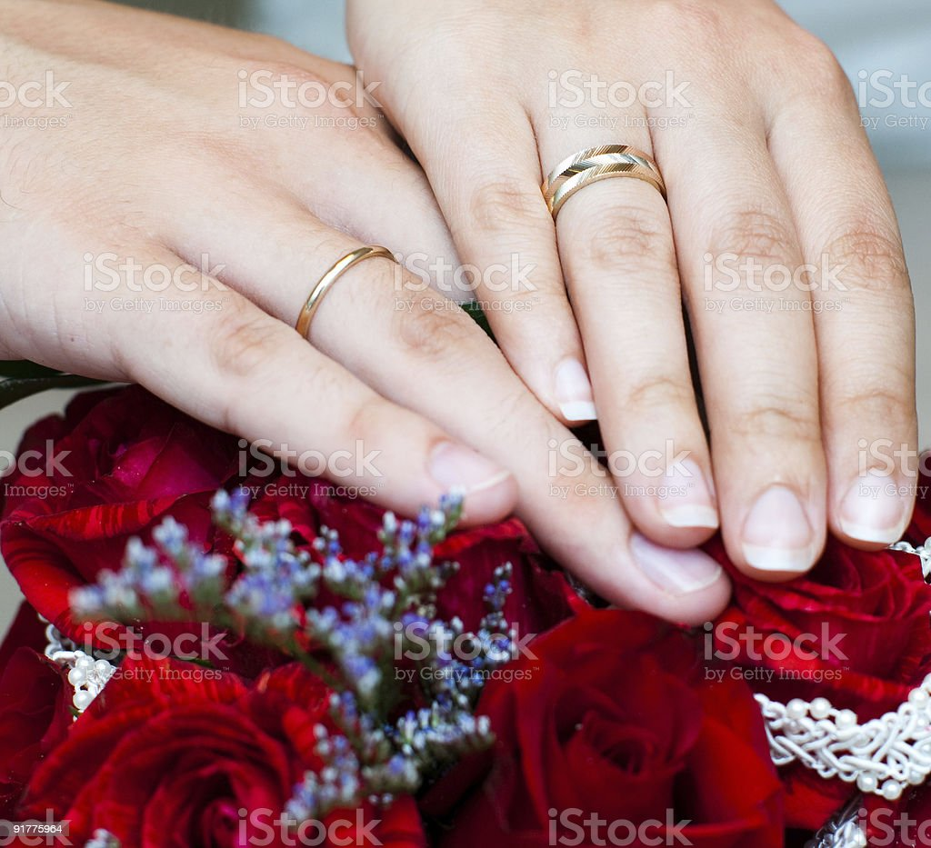 Two hands with wedding rings royalty-free stock photo