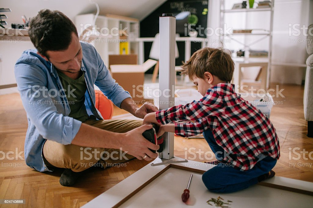 Two handymen stock photo