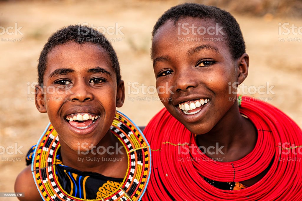 Two happy African young girls on savanna, East Africa – Foto