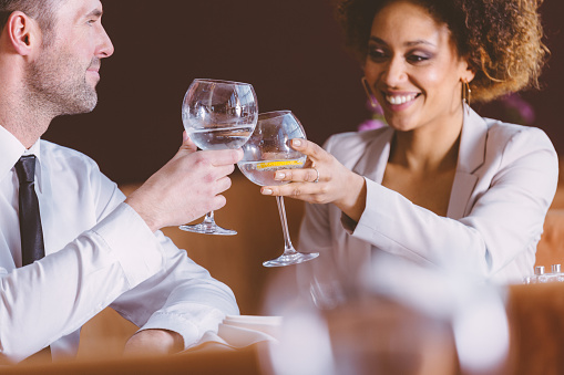 Two Happy Business People At Lunch In The Restaurant Stock Photo - Download Image Now