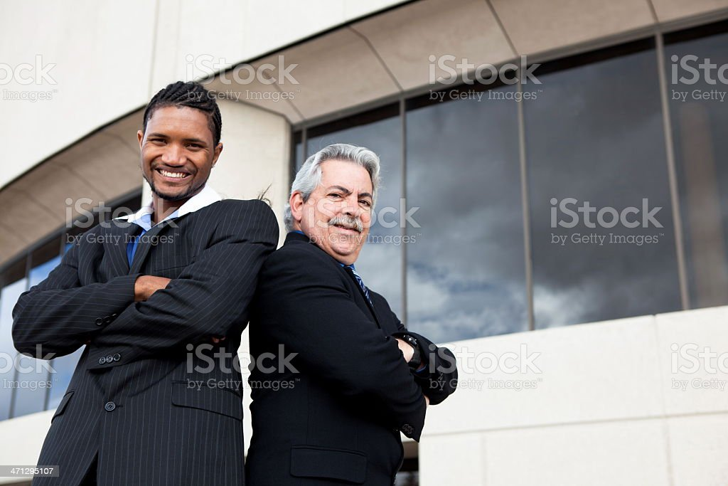 Two happy businessmen stock photo
