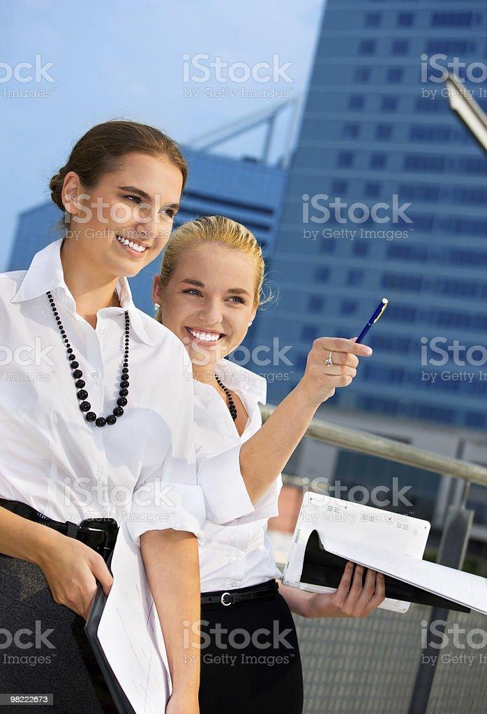 two happy businesswomen royalty-free stock photo