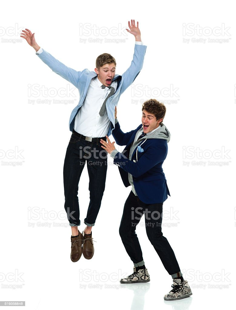 Two happy friends stock photo