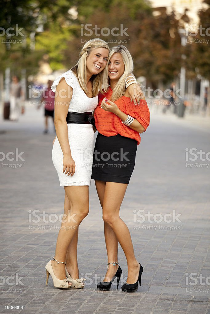 Two happy girlfriends royalty-free stock photo
