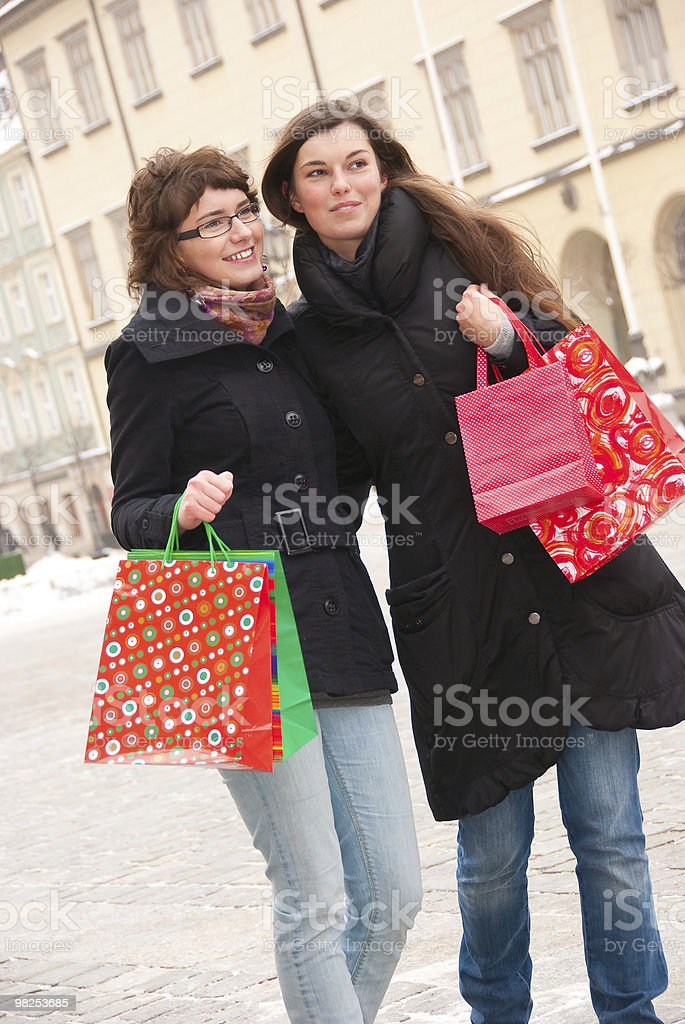 Two happy girls fter shopping royalty-free stock photo