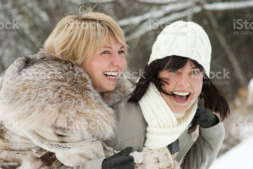 Two happy middle-aged women royalty-free stock photo