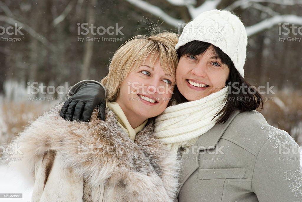 Due donne felice medio invecchiato foto stock royalty-free