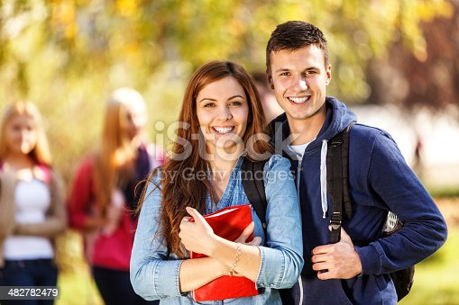 istock Two happy students in front of the campus 482782479