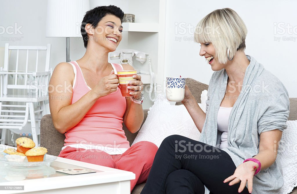 two happy woman friends royalty-free stock photo