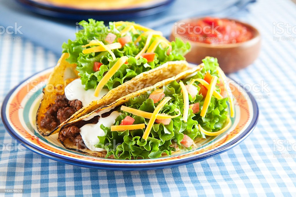 Two hard shell beef tacos on a dinner plate stock photo