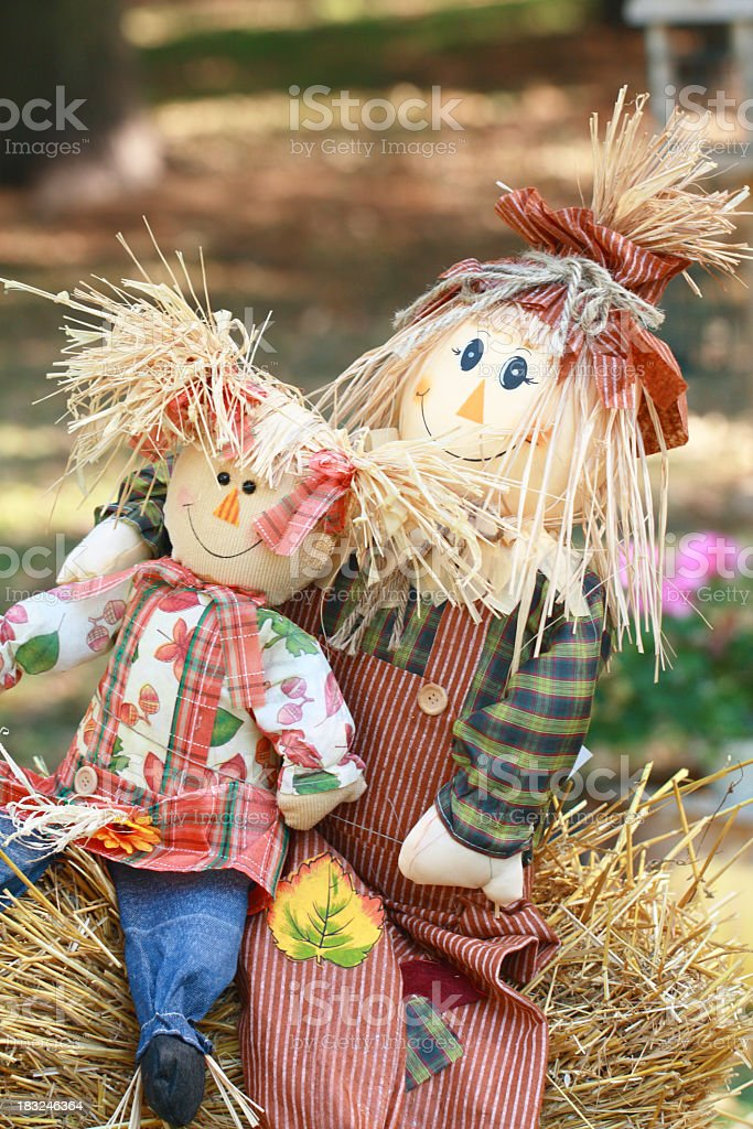 Two Harvest Holiday Dolls royalty-free stock photo
