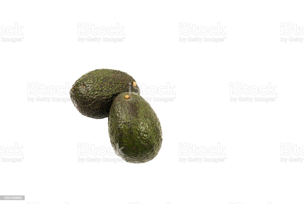 Two hass avocados isolated on white background stock photo