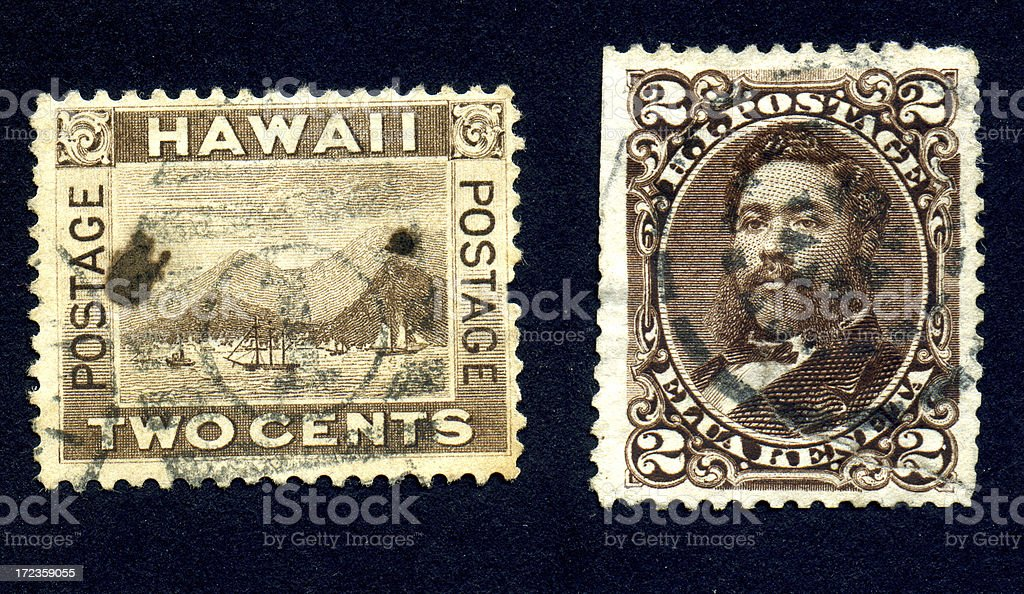 Two Hawaiian Postage Stamps royalty-free stock photo
